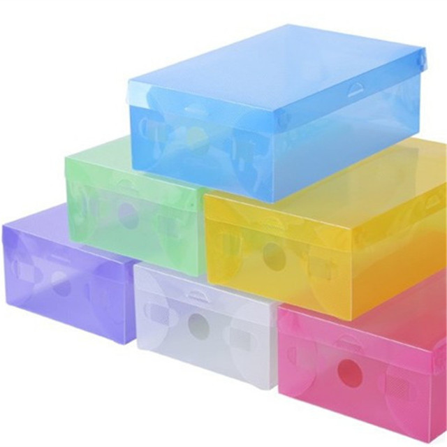 Shoe Box Plastic Storage Shoe Box Candy Color Drawer Type Transparent  Shoebox 1 Pcs 7ZCF161