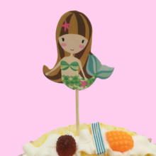24pcs llittle mermaid party supplies Card Collections Cake Topper for Party Decoration Dessert lovely Gift Happy Birthday