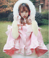 Japanese sweet lolita cloak vintage lace bowknot hooded woollen lolita overcoat winter warm kawaii girl victorian overcoat