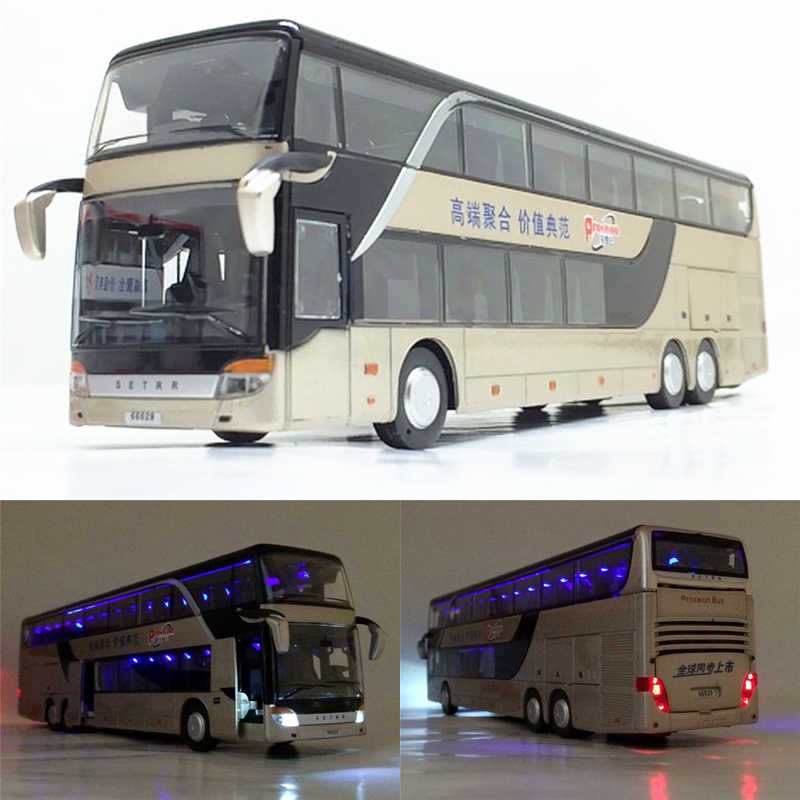 High quality 1:32 alloy pull back bus model high simitation Double sightseeing bus flash toy vehicle kids toys free shipping
