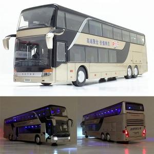 Image 1 - Di alta qualità di 1:32 della lega di tirare indietro modello di autobus di alta simitation Doppia sightseeing bus flash veicolo del giocattolo giocattoli per bambini spedizione gratuita