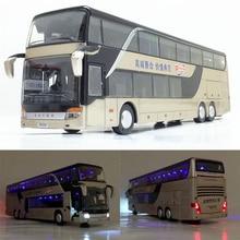 Hohe qualität 1:32 legierung ziehen zurück bus modell hohe simitation Doppel sightseeing bus spielzeug fahrzeug kinder spielzeug freies verschiffen