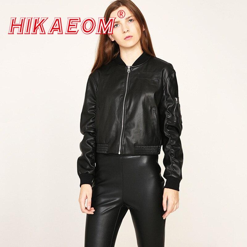 Spring New Single Fashion Tide Pilot   Leather   Jacket Female Baseball Uniform Long Sleeve Zipper PU Slim Small Short Jackets Women