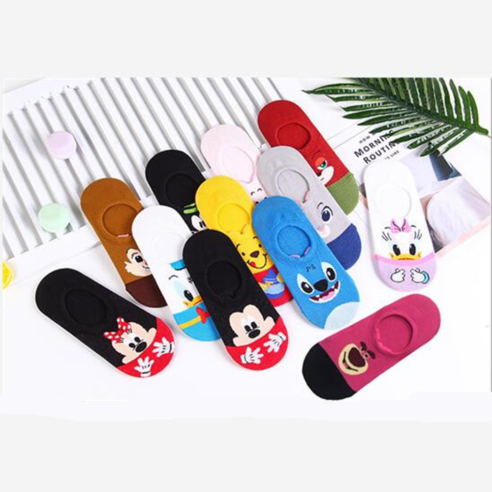 Anime Pluto Bear Stitch   socks   Rabbit Mouse duck funny cute cartoon animal women   sock   spring summer invisible cotton boat   socks