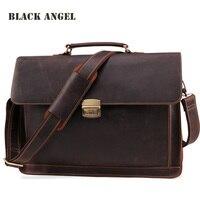 Черный Ангел Для мужчин Натуральная кожа Портфели Сумки для ноутбуков бизнес Для мужчин сумки Винтаж плеча сумки для Для мужчин