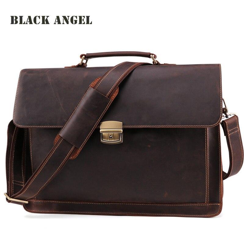 Ange noir hommes porte-documents en cuir véritable sacs pour ordinateur portable affaires hommes sacs à main Vintage épaule messenger sacs pour hommes