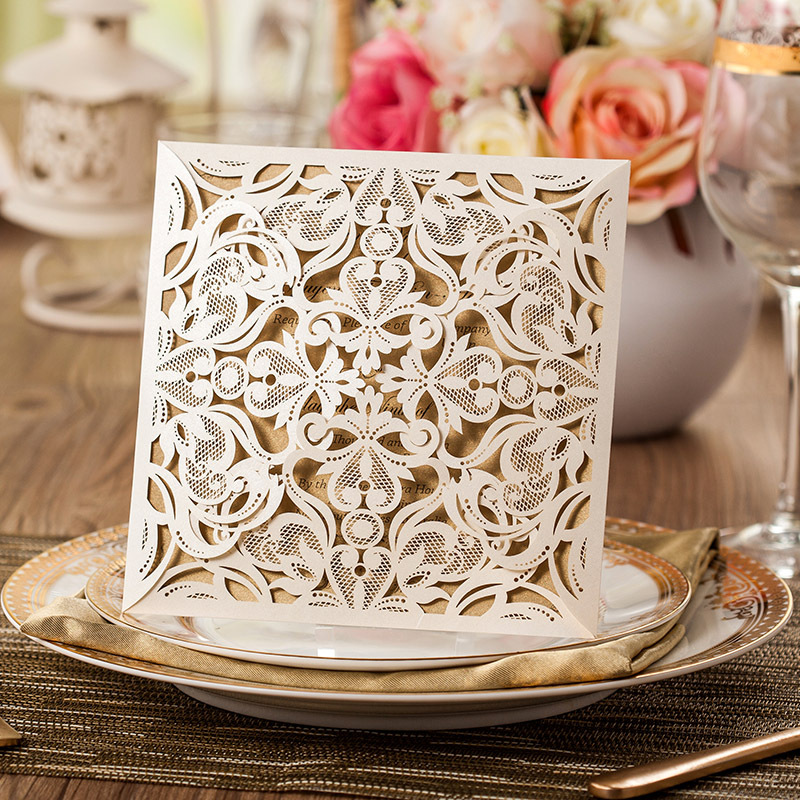 30pcs/lot Laser Cut Lace Flower Elegant Wedding Invitations Paper Card for Party Supplies Birthday casamento Cards CW519_WH