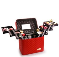 Women Large Capacity Professional Makeup Fashion Toiletry Cosmetic Bag Multilayer Storage Box Clapboard Pretty Suitcase
