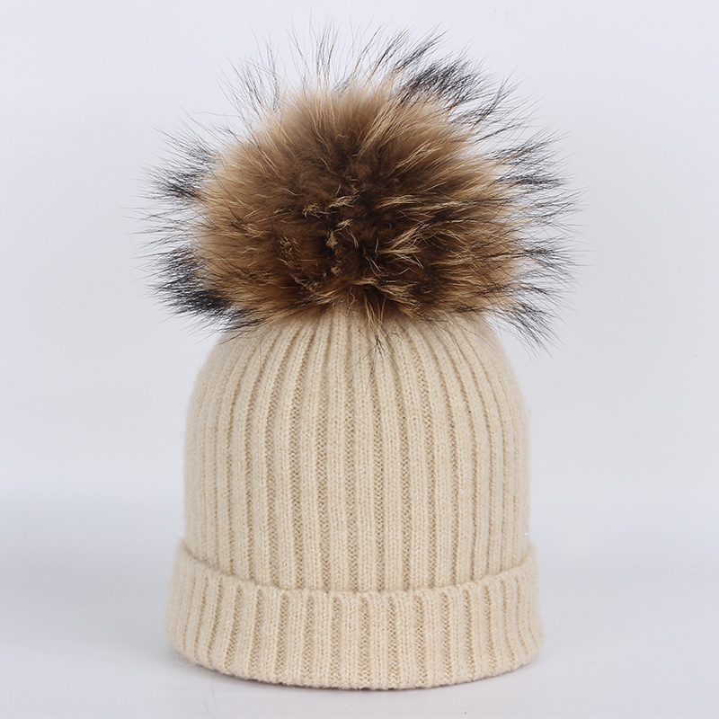 New fashion children 39 s hats baby winter raccoon fur pom pom yarn cotton warm knit solid scarf ski for girl boy beanie caps skull in Men 39 s Skullies amp Beanies from Apparel Accessories