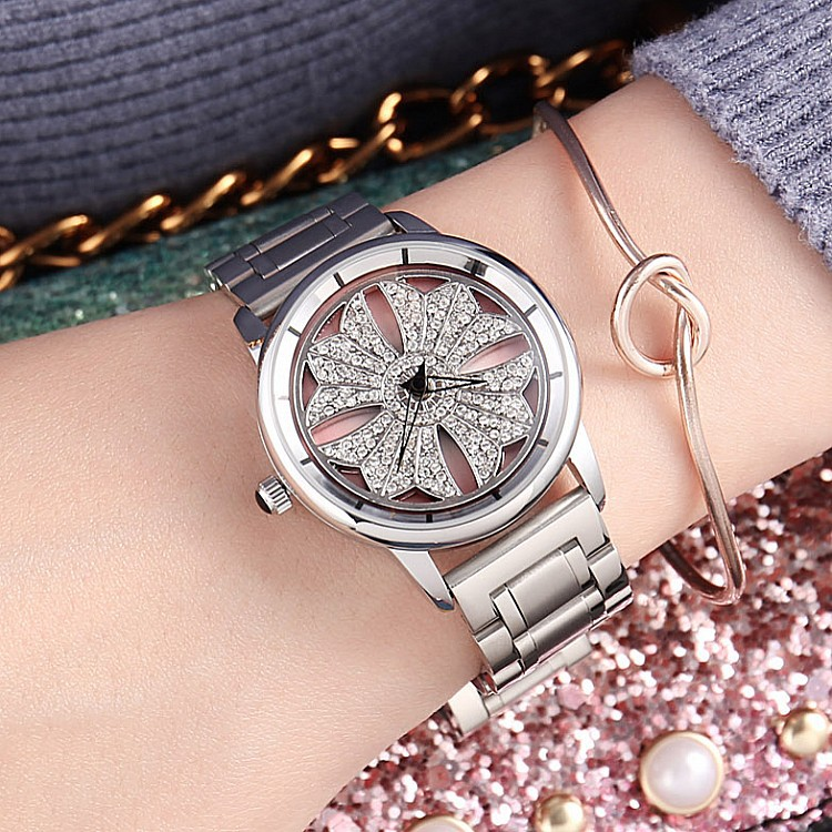 2018 New Woman Quartz Watches Ladies Wristwatch Silver watch Female Top Brand Luxury Girl Clock Rotating dial Relogio Feminino dress clock female luxury brand ladies watch diamond analog leather band quartz wristwatch womens relogio feminino drop shipping