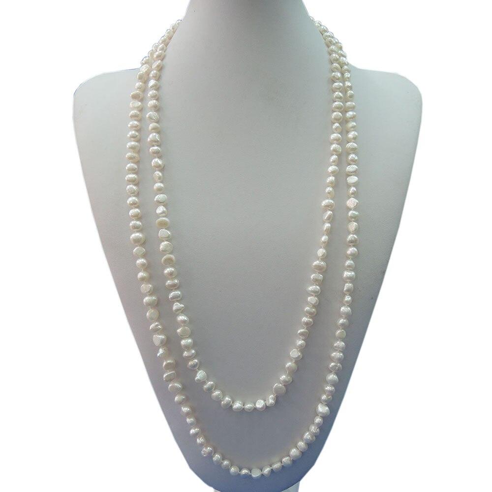 100% NATURE PERLE D'EAU DOUCE À LONG COLLIER-59 pouces long collier, 150 cm collier, dans beaucoup de couleurs, blanc, rose, violet, gris, noir