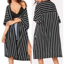Vintage Kimono Cardigan Stripe Tops Loose RK