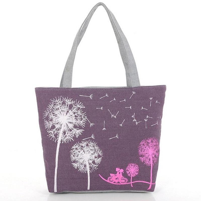 Fashion Dandelion Design Women s Handbag Quality Canvas Shoulder font b bag b font Female Portable