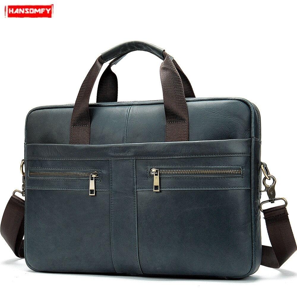 Vintage Mens Genuine Leather Crossbody Messenger Shoulder Bag Briefcase Handbag