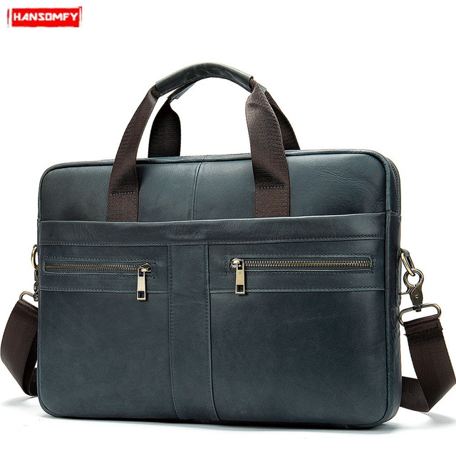 New Genuine Leather Men briefcase Business 15