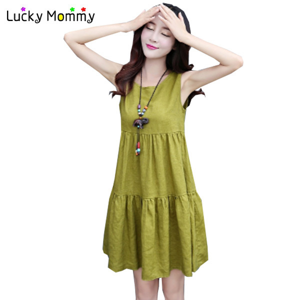 3 Color Linen Cotton Maternity Dresses Sleeveless Dress for Pregnant Loose Casual Maternity Clothes for Pregnant Women M-3XL