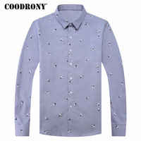 COODRONY Mens Business Casual Shirts Long Sleeve Cotton Shirt Men Brand Clothing 2018 Spring Fashion Floral