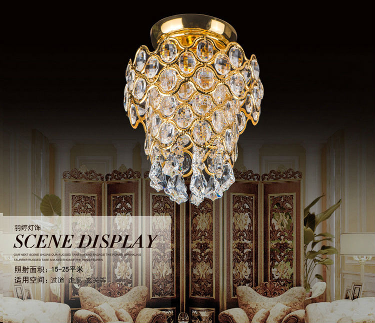 Led crystal gold ceiling lamp small crown corridor European style hotel chandelier lighting for living room,dining room, bedroom modern crystal chandelier led hanging lighting european style glass chandeliers light for living dining room restaurant decor