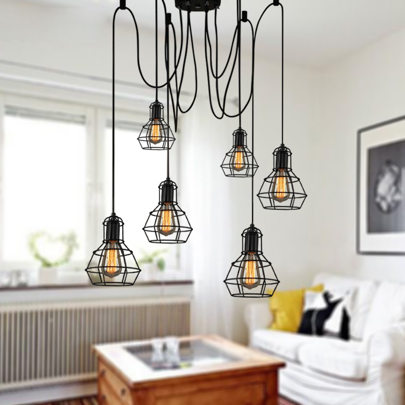 Charmant Vintage Industrial Pendant Lamp Loft Style Lights Kitchen Dining Room  Lampara Mordern Nordic Retro Light Spider Edison Lamps In Pendant Lights  From Lights ...