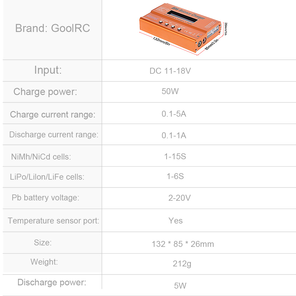 GoolRC B6 Mini Multi-functional Balance Charger Discharger for LiPo Battery Lilon LiFe NiCd NiMh Pb RC Battery RC Car Parts Dron (13)