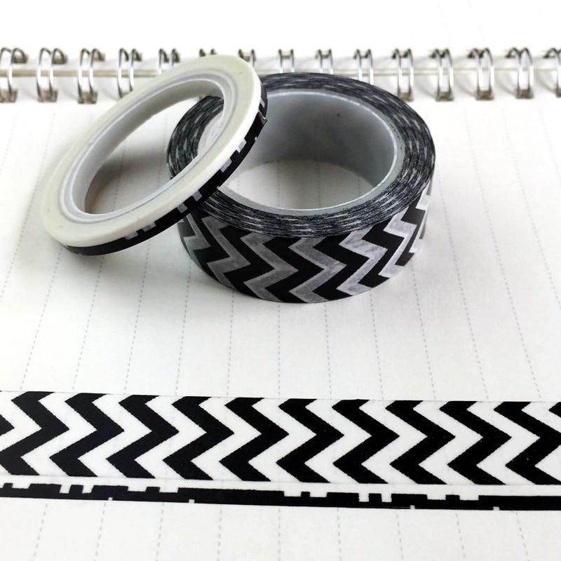 Papier à Chevrons Washi noir blanc 10 m Kawaii outils de Scrapbooking fabrication de cartes papeterie japonaise Adesiva DecorativaTapes
