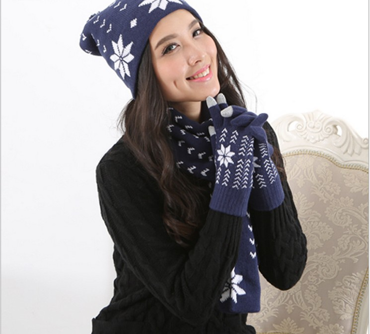 Autumn And Winter Men And Women Fashion Printed Knited Keep Warm Scarf, Hat & Glove Sets 052