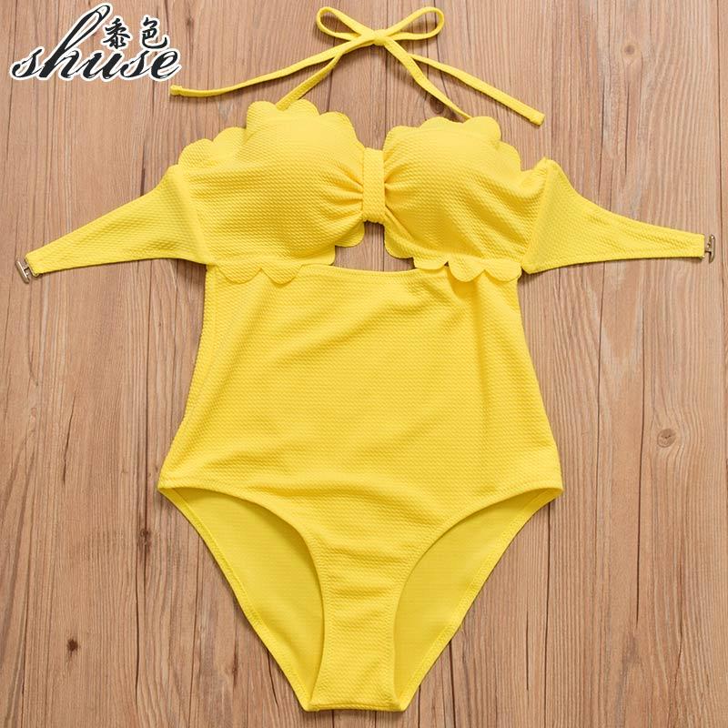 8674bdc957ade High Waist Bikini Set Women One Piece Swimsuits Push Up Swimwear Summer  Yellow Bathing