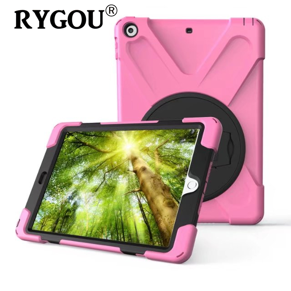 RYGOU For New iPad 2017 Case 9.7 inch Dual Layer Heavy Duty Fullbody Rugged Protective Cover for iPad 9.7 2017 model A1822 A1823 case for new ipad 9 7 inch 2017 heavy duty 3 in 1 hybrid rugged durable shockproof for model a1822 alabasta