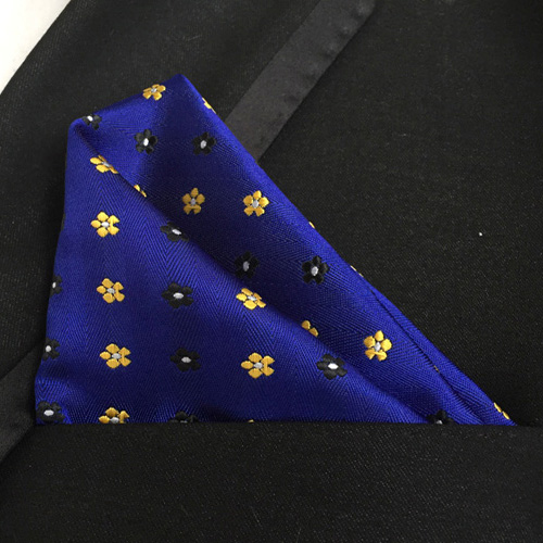Lingyao Luxury Pocket Square High Quality Woven Handkerchiefs Royal Blue With Yellow Black Flower