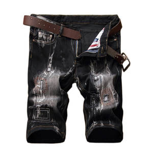 7353180c2834 Fashion printed jeans shorts male personality patch retro jeans tide brand mens  shorts stretch hole black men s short trousers