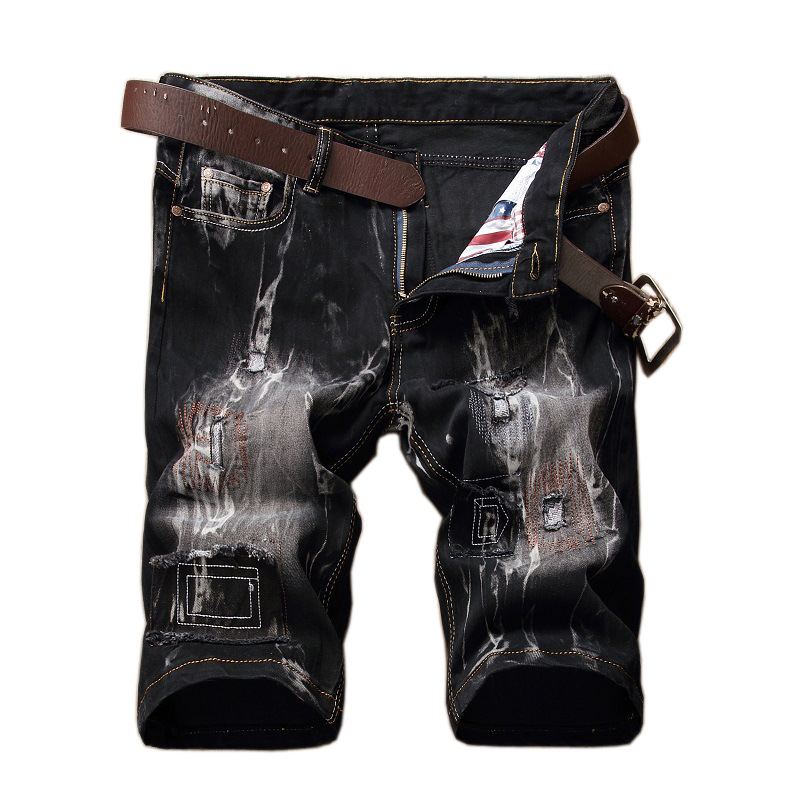 Fashion printed jeans   shorts   male personality patch retro jeans tide brand mens   shorts   stretch hole black men's   short   trousers
