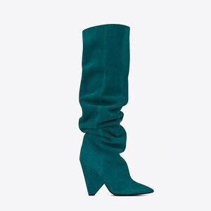 Image 2 - BuonoScarpe Slip On Knee High Boots 2019 Cone Heels Pleated Fashion Women Boots High Heels Ladies Brand Design Shoes Knight Shoe