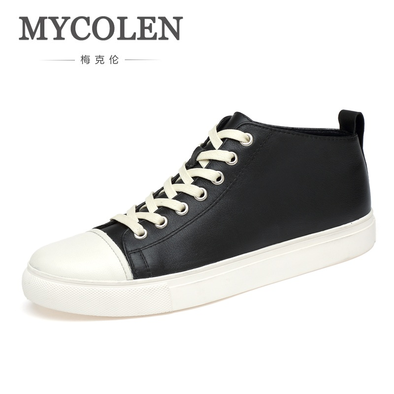 MYCOLEN Brand 2018 Men Shoes Casual Sneakers Patchwork High Top Fashion Footwear Male Cool Hightop Top Quality Shoes Buty valstone 2018 men leather casual shoes hip hop gold fashion sneakers silver microfiber high tops male vulcanized shoes sizes 46