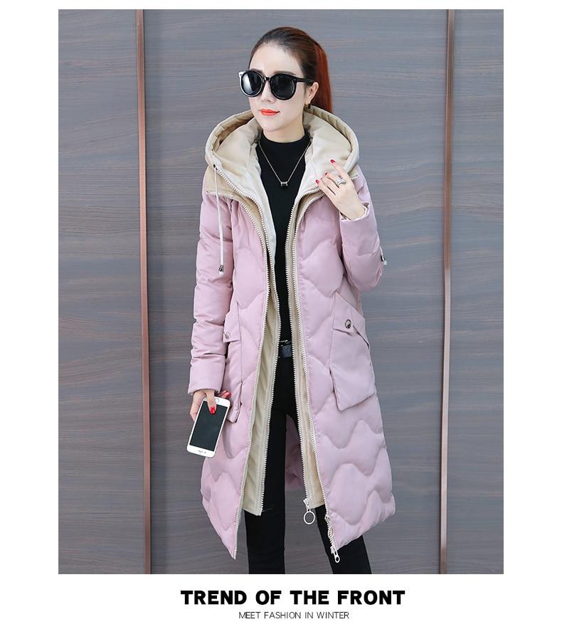 rembourré Et Épais Coton Coton Nouvelle Version Long Usure D'hiver Coréenne Rembourré Noir rose Style De Femmes Veste 2018 Lâche ZECwOqnw6x