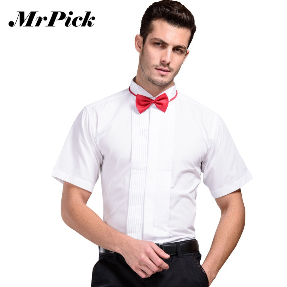 Formal Male Tuxedo Shirts 2015 Summer Short Sleeve Wedding