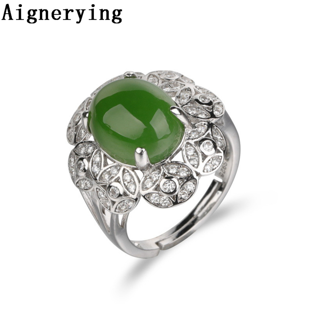Vintage Certificate Rings Supply Fine jewelry Natural green Jade Adjustable 925 Silver Cool Finger For Women Cute Ring Gift Box Vintage Certificate Rings Supply Fine jewelry Natural green Jade Adjustable 925 Silver Cool Finger For Women Cute Ring Gift Box