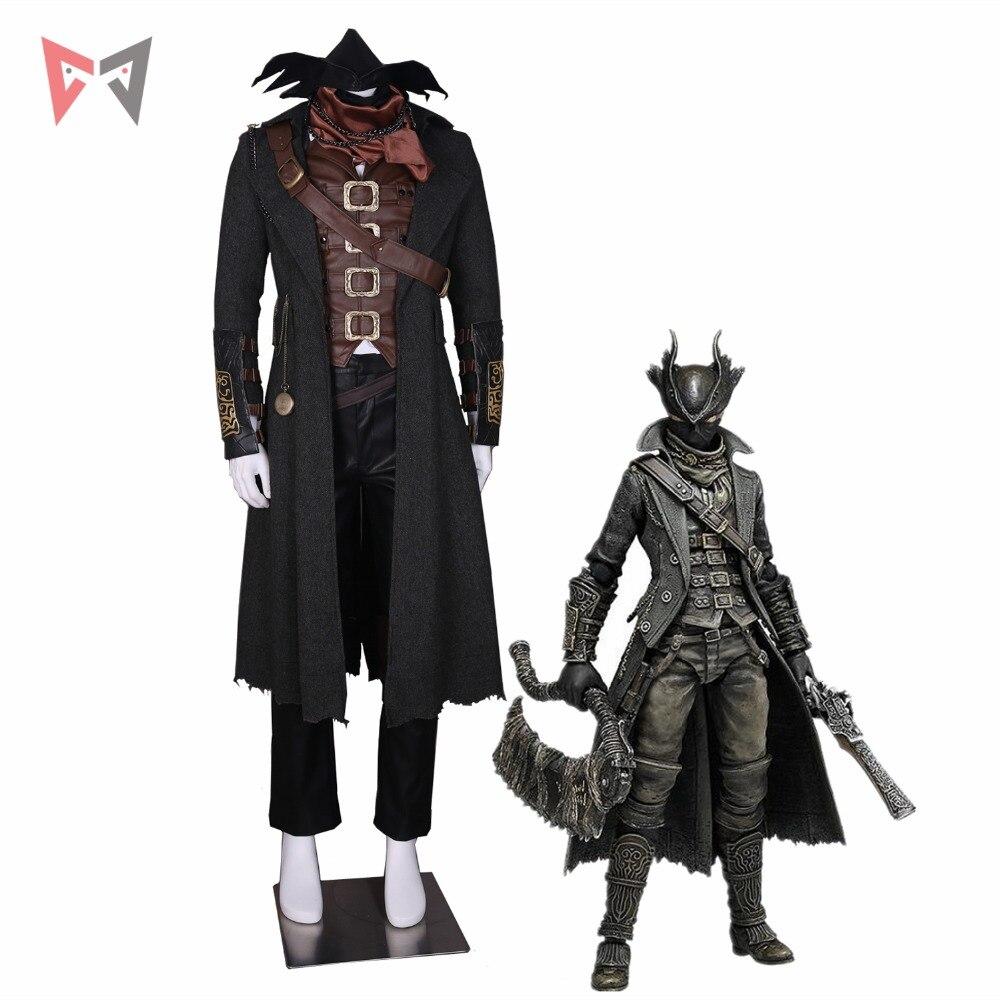 MMGG sang borne cosplay le chasseur Ludwig Cosplay Costume en cuir gilet manteau pantalon chapeau écharpe montre collier masque 14 pièces ensemble