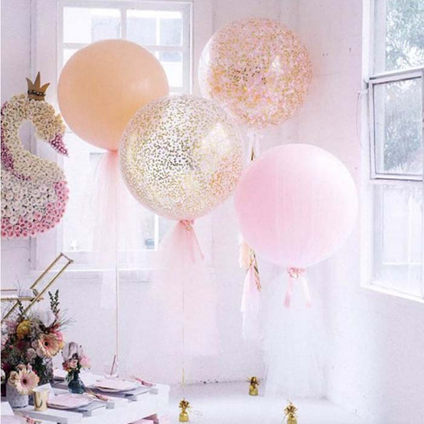 Confetti Balloons 36Inch Transparent Latex With Pink White Gold For Wedding Party Birthday Decorations Rose Balloo In Ballons Accessories