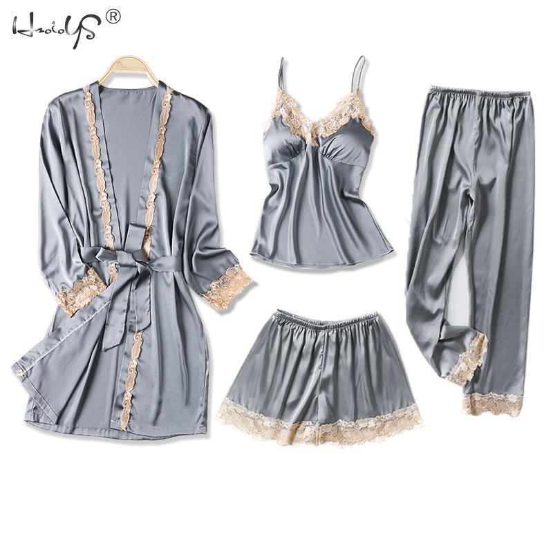 2019 Women Satin Sleepwear 4 Pieces Pyjamas Sexy Lace Pajamas Sleep Lounge Pijama Silk Night Pyjama Home Clothing Pajama Suit