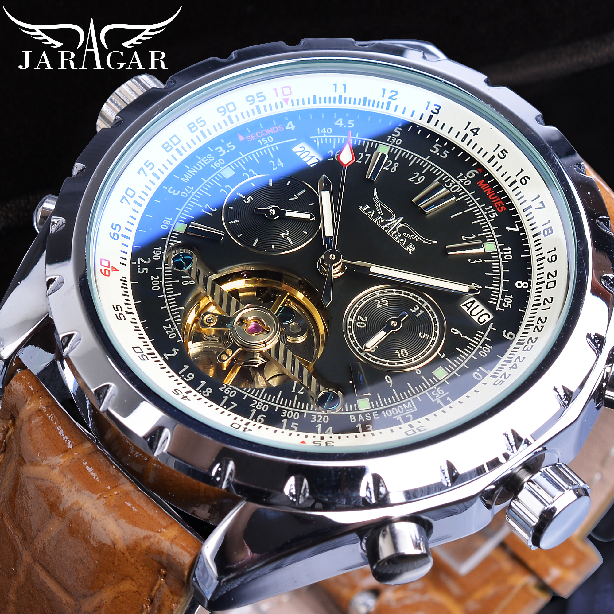 Jaragar Luxury Brand Automatic Mechanical Male Watches Calendar Brown Genuine Leather Wrist Watch Racing Men Male