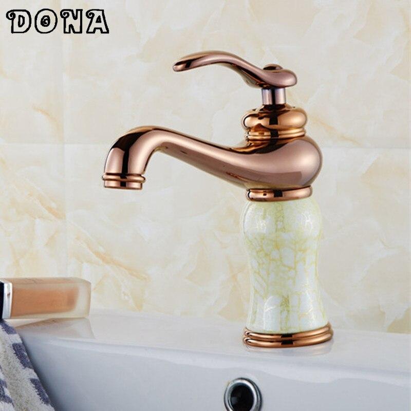 Basin Faucets Rose Gold Finish Single Lever Basin Faucet Deck Mount Bathroom Sink Mixer Tap faucet for bathroom torneiras DDONA4 deck mount 3pcs bathroom basin sink faucet rose gold finish double handles mixer faucet