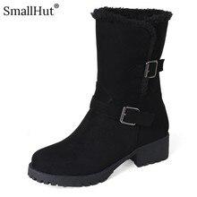 Buckle Mid Heel Snow Boots Winter Women Fashion Low Square Heels Shoes D080 Elegant Ladies Warm Black Beige Brown Ankle Boots