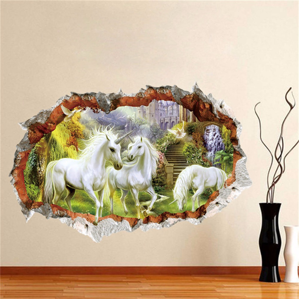 Unicorn horse wall stickers creative 3d break the wall Mural effect picture setting sticker decorative kids - Interieur | Verander een kamer met een 3D vloer poster