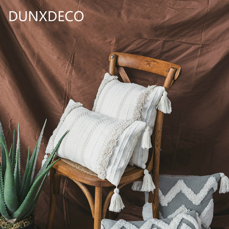 DUNXDECO Cushion Cover Decorative Tufting Pillow Case Bohemia Luxury Stripe Tassels Modern Home  Sofa Chair Bedding Coussin tassels pillow