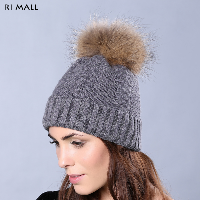 Genuine Raccoon Fur Pompom Female Winter Wool Hats Solid Color Outdoor Casual Caps Rabbite Fur Thick Knitted Skullies & Beanies men s skullies winter wool knitted hat outdoor warm casual solid caps for men caps hats