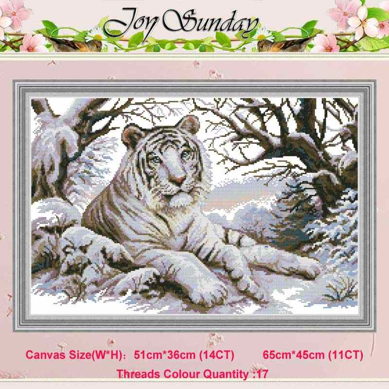 Tiger animals painting counted 11CT 14CT Cross Stitch Set DIY DMC Chinese Cross-stitch Kit Embroidery Needlework home decor