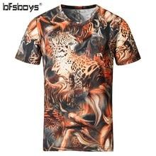 BFSBOYS 2017 Summer 3d Handle Clothing Men's Fashion Casual Silk and Cotton T Shirts Men's 3D Cheetah Image Men T Shirt Pesca