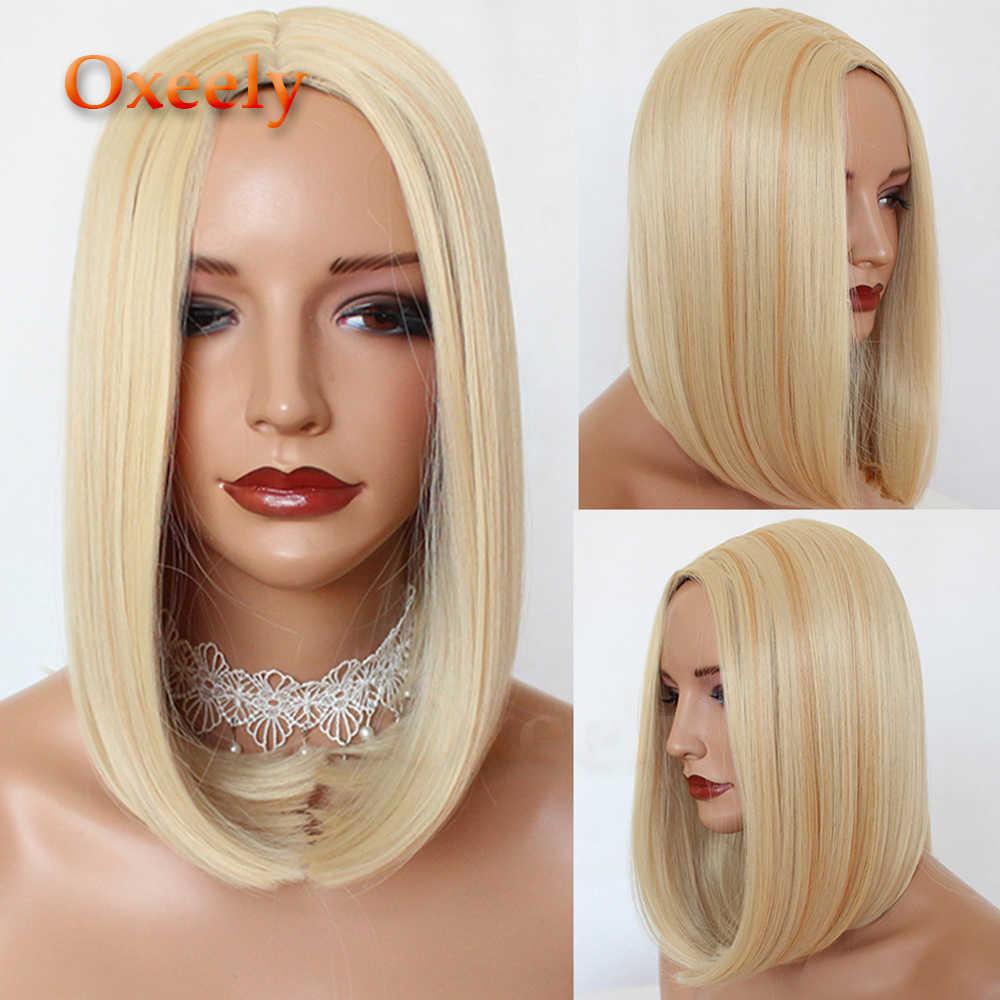 Oxeely #613 Bob pelo sintético pelucas completas Color rubio sin pegamento Pelo Corto Bob ninguna Peluca de encaje resistente al calor para las mujeres negras