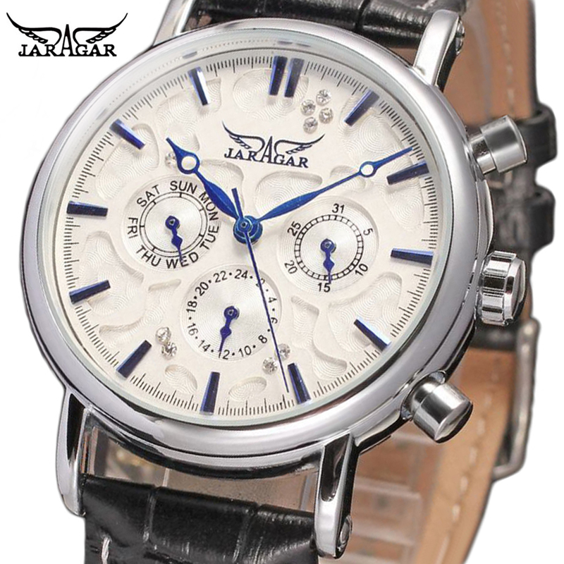 Jaragar Blue Sky Series Elegant Design Leather Mens Watches Top Brand Luxury Men Clock Automatic Mechanical Male Wrist Watch брелок blue sky faux taobao pc006
