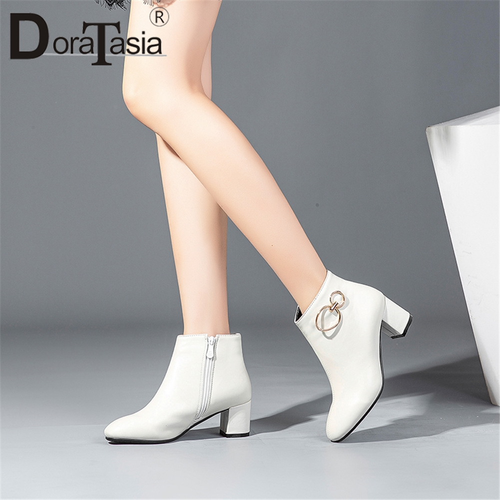 DoraTasia Popular Classic Women Ankle Boots Plus Size 32-43 6.5cm High Square Heels White Boots Women ShoesDoraTasia Popular Classic Women Ankle Boots Plus Size 32-43 6.5cm High Square Heels White Boots Women Shoes